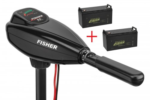 Лодочный электромотор Fisher 55 + два аккумулятора Fisher 80AH AGM