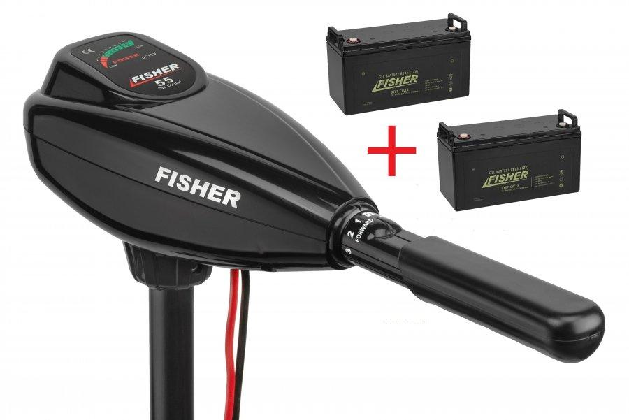 Лодочный электромотор Fisher 55 + два аккумулятора Fisher 85AH GEL