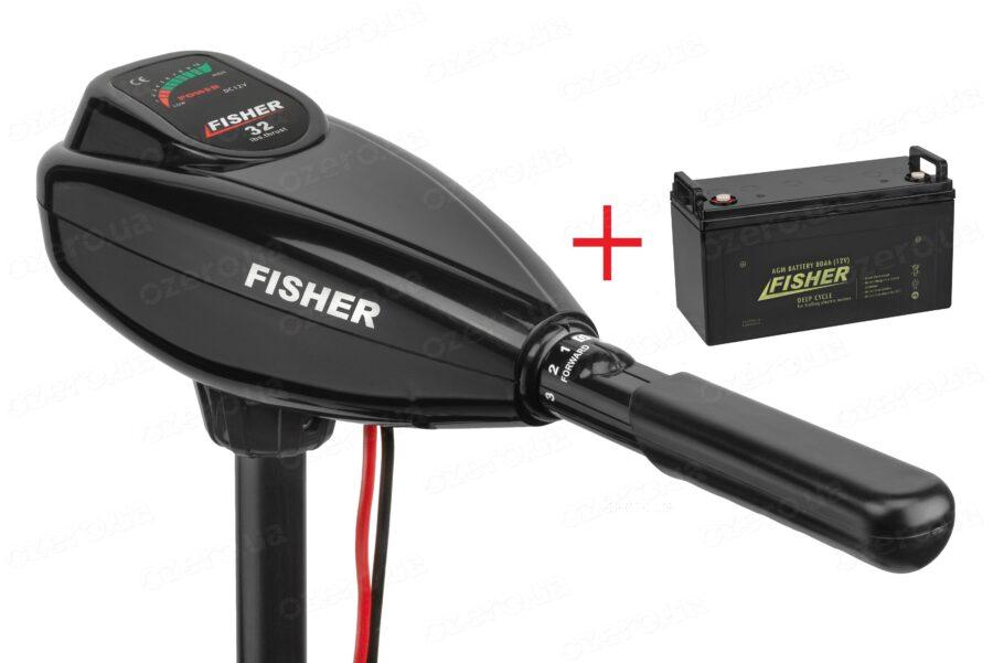 Лодочный электромотор Fisher 32 + аккумулятор Fisher 80AH AGM