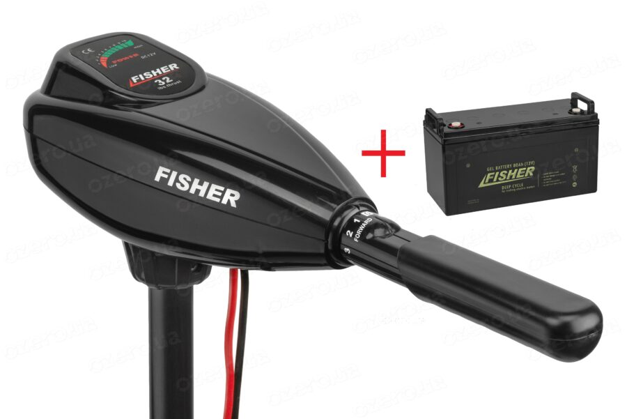 Лодочный электромотор Fisher 32 + аккумулятор Fisher 80AH GEL