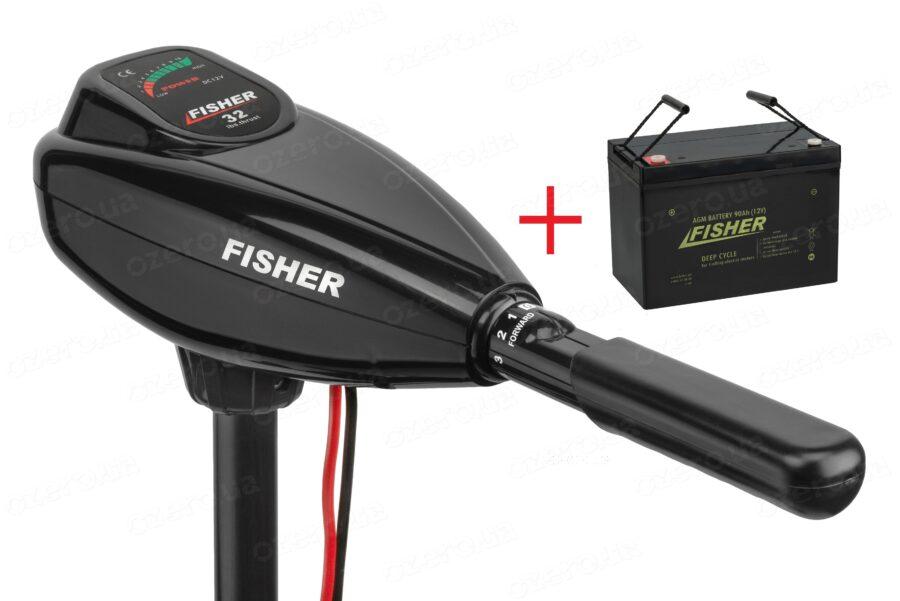 Лодочный электромотор Fisher 32 + аккумулятор Fisher 90AH AGM
