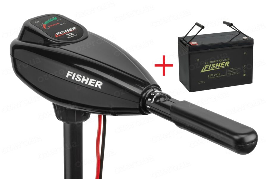 Лодочный электромотор Fisher 32 + аккумулятор Fisher 90AH GEL
