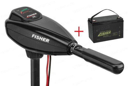 Лодочный электромотор Fisher 36 + аккумулятор Fisher 100AH AGM