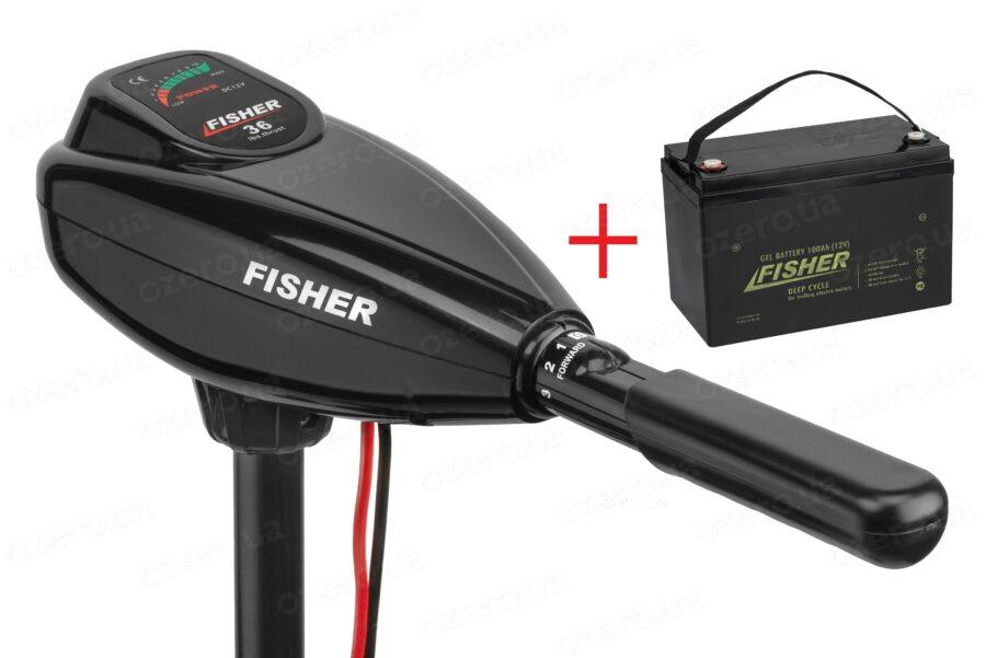 Лодочный электромотор Fisher 36 + аккумулятор Fisher 100AH GEL