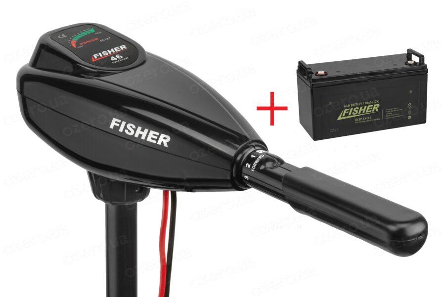 Лодочный электромотор Fisher 46 + аккумулятор Fisher 120AH AGM