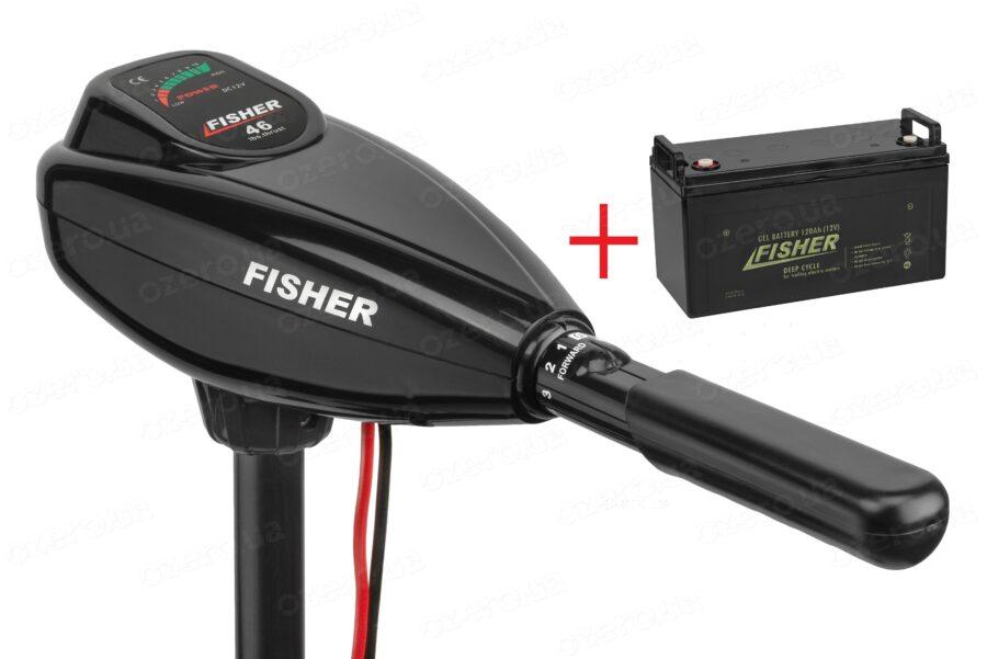 Лодочный электромотор Fisher 46 + аккумулятор Fisher 120AH GEL