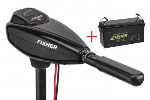 Лодочный электромотор Fisher 46 + аккумулятор Fisher 150AH GEL